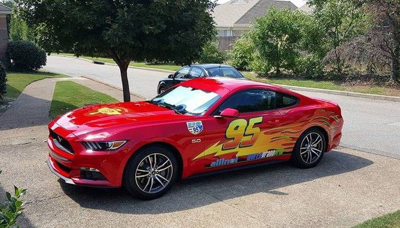 Dad Transforms Car Into Lightning McQueen To Surprise His Son - Mustangs of memphis car show