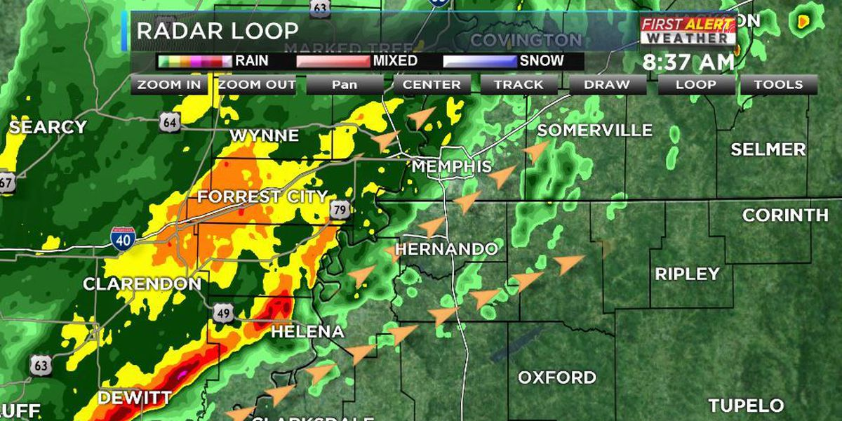 Heavy rain and storms moving across the Mid-South