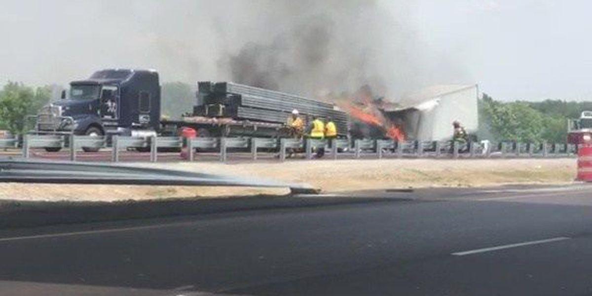 1 dead, I-40 shutdown after fiery crash involving 18-wheelers