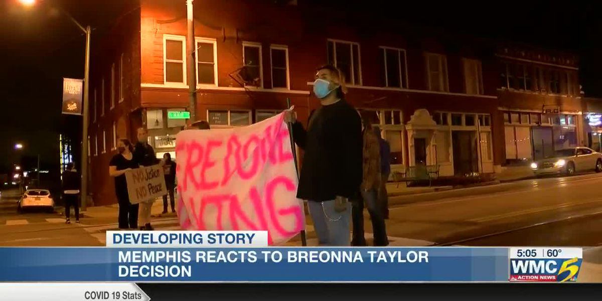 Protesters gather in front of 201 Poplar in 'Solidarity for Breonna'