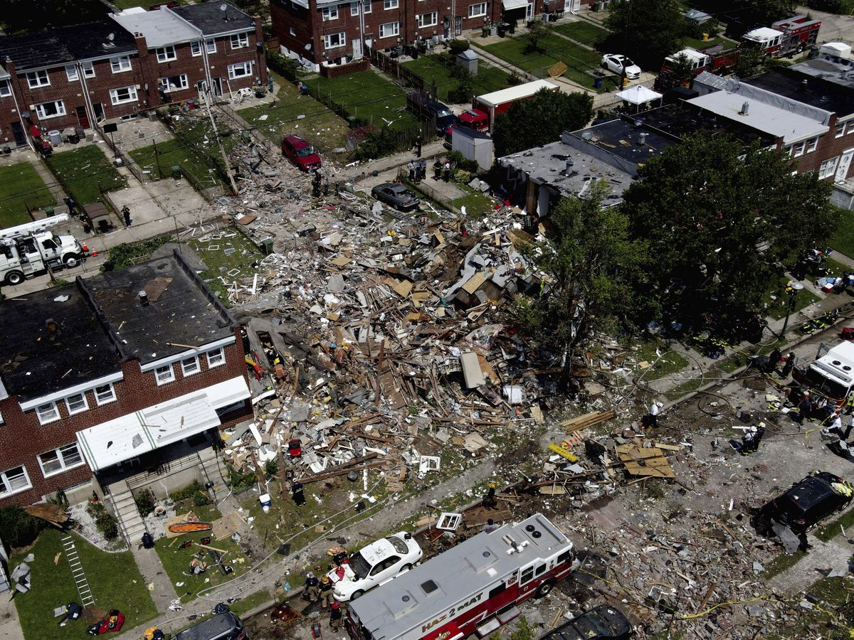 1 dead, 7 rescued after gas explosion levels Baltimore homes